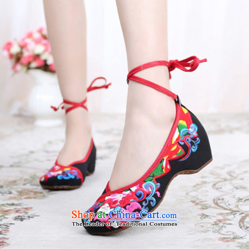 Dan Jie Shi 2015 Autumn new old Beijing mesh upper butterfly flower beef tendon bottom lightweight mesh upper with tether straps ethnic embroidered shoes women shoes Fashion Square Dance Shoe Black聽35
