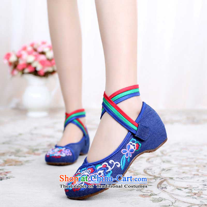 Dan Jie Shi 2015 new old Beijing mesh upper-tray clip cowboy retro ethnic embroidered shoes slope with a shoe breathability and comfort single Shoes Plaza dance women shoes blue Velcro聽38