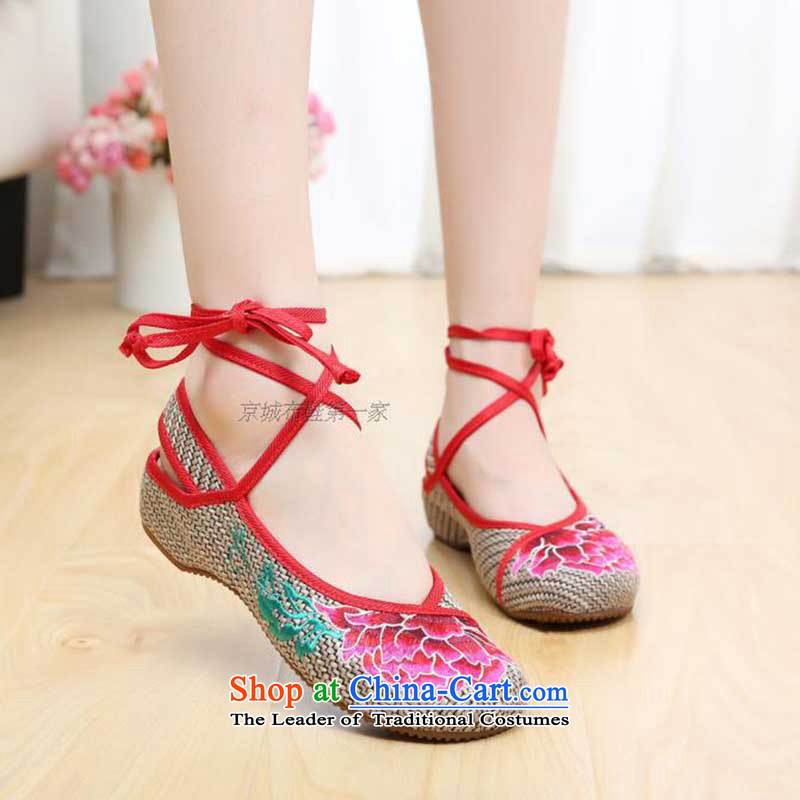 Dan Jie Shi 2015 new old Beijing mesh upper ethnic Baotou embroidered shoes female sandals couture single shoe slope with the tether strap Shoe Light Gray39