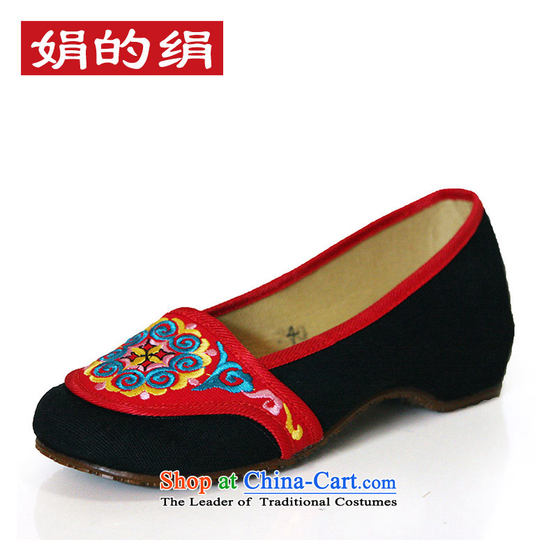 The silk fabric of Old Beijing National wind increased within the embroidered shoes with slope woman Shoes, Casual Shoes autumn A412-179 single black 36