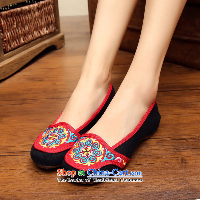 The silk fabric of Old Beijing National wind increased within the embroidered shoes with slope woman Shoes, Casual Shoes autumn A412-179 single black 36-youns silk , , , shopping on the Internet