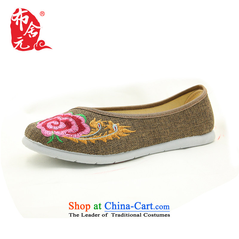 Bushe RMB Female shoes autumn new embroidered shoes of Old Beijing mesh upper flat bottom light on female single women shoes of ethnic women shoes in the older President mother shoe Dance Shoe 53Y-5206 gray 38