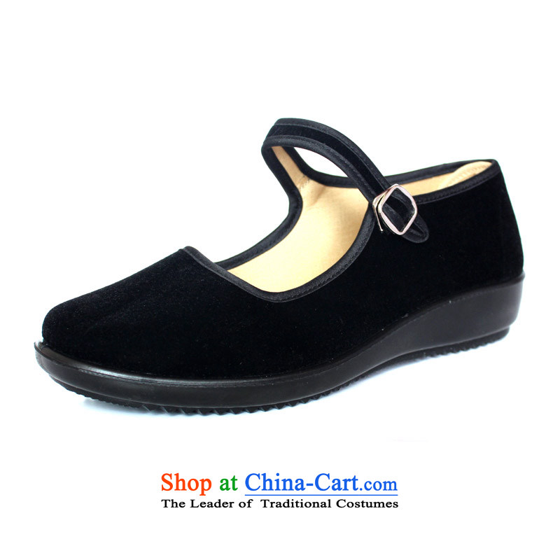 Fuk Jun Xiang Old Beijing women shoes single shoes mesh upper with a flat bottom polyurethane comfortable wear soft ground work shoes hotel skip Dance Shoe black mother footwear in the older black mesh upper black 37