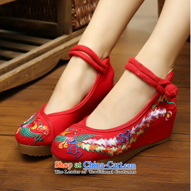 Mesh upper with old Beijing women shoes spring and fall of ethnic embroidered shoes slope with shoes increased thick square Dance Shoe Red 38