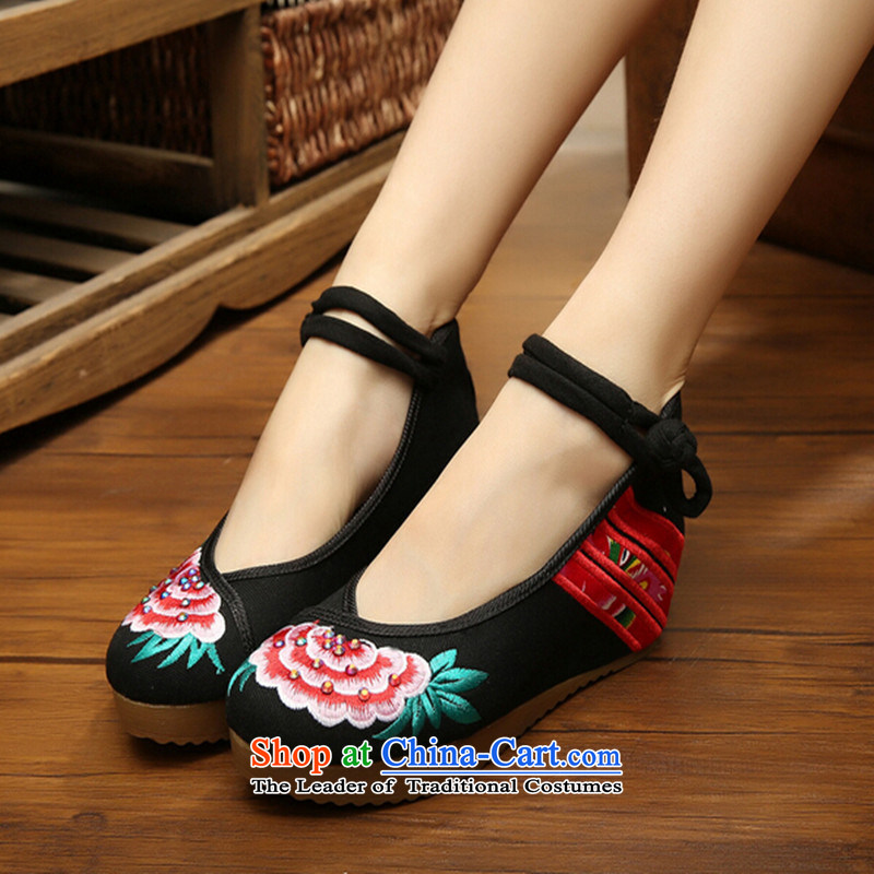New Old Beijing mesh upper women shoes spring and summer embroidered shoes of ethnic women shoes ironing drill with increased within the slope womens single shoe black 36