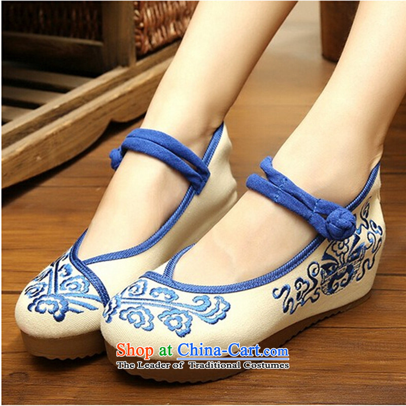 New Old Beijing mesh upper women shoes spring and summer embroidered shoes of ethnic women shoes ironing drill with increased within the slope womens single shoe Blue 39