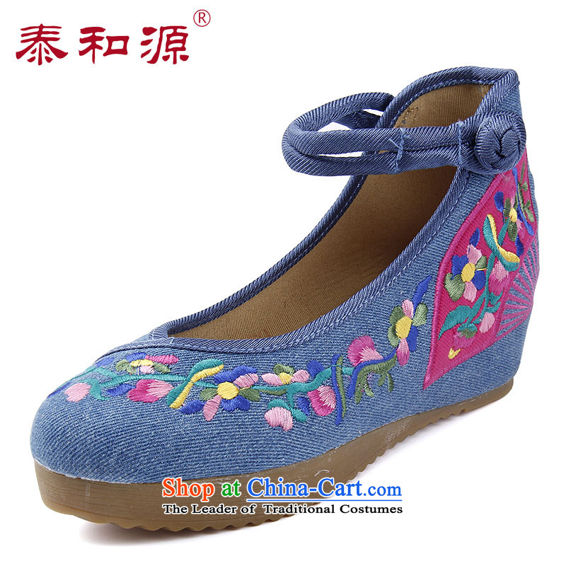 The Thai and source of Old Beijing stylish shoe mesh upper 2015 new handicraft embroidery flower shoes of ethnic single women cotton linen skip Dance Shoe 24105 marriage light blue No 24107 36