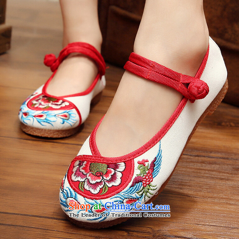 Mesh upper with old Beijing spring and summer embroidered shoes retro flat bottom of ethnic women shoes with soft, non-slip womens single shoe mesh upper m White 34