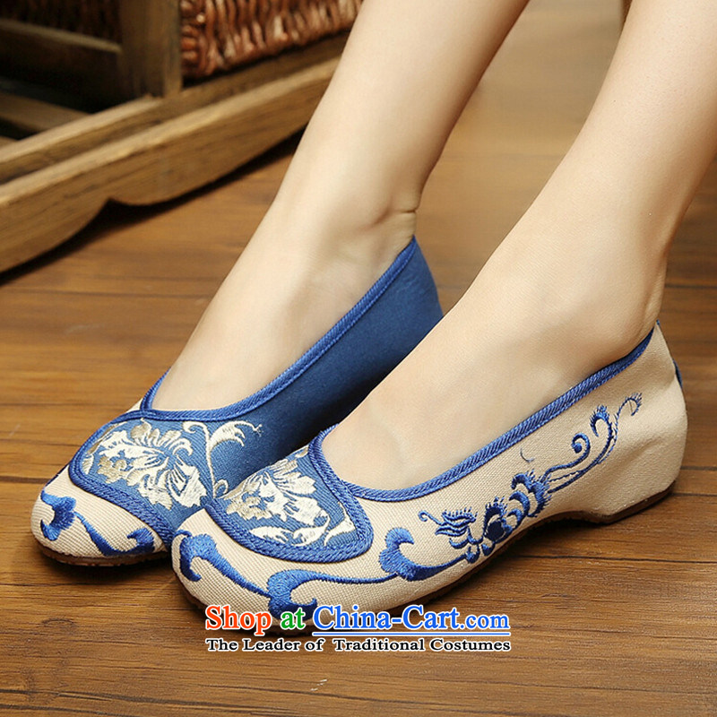 The spring and summer of Old Beijing mesh upper women shoes retro embroidered shoes of Ethnic Dance Shoe increase Square flat bottom womens single shoe beige 36