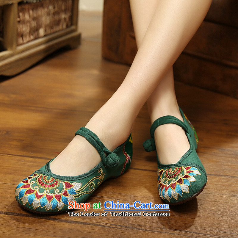 Mesh upper with old Beijing embroidered shoes women beef tendon bottom slope behind with higher female ethnic retro shoe to a single field with Green 37