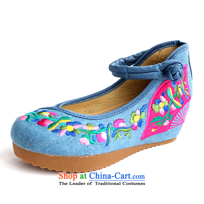 The autumn morning glory new spring and summer retro national wind increased within the embroidered shoes of Old Beijing women's shoes mesh upper high-heel shoes with female A104-8 slope Blue35