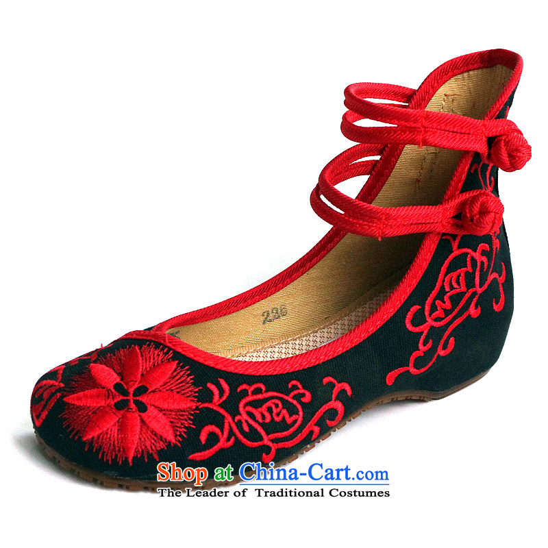 Porcelain masks sunflower spring and fall embroidered shoes of ethnic retro women shoes increased within stylish single shoe mesh upper old Beijing women shoes heel shoes black 412-150 38