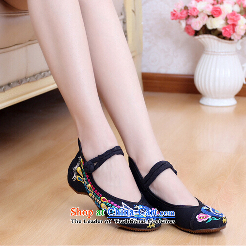 Putin has been Soo-old Beijing mesh upper retro women shoes of ethnic single shoes increased mesh upper embroidered shoes hasp beef tendon backplane Phoenix embroidery female TR926 black聽36