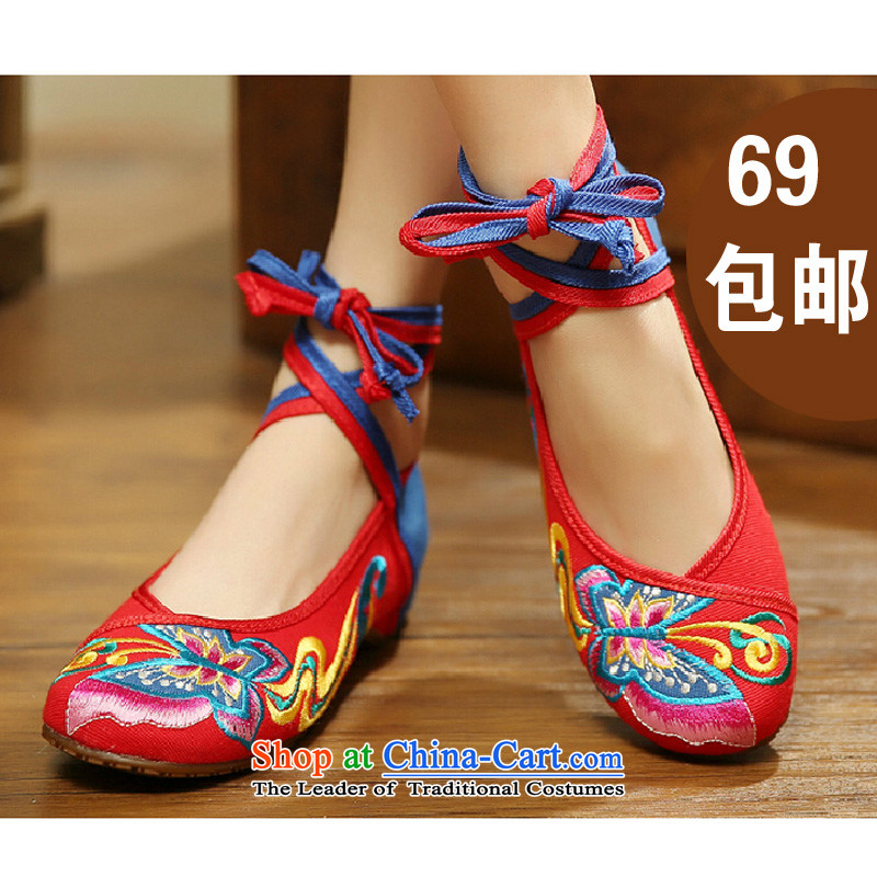 Butterfly Spring and Autumn as well as from the new national wind increased within retro embroidered shoes of Old Beijing mesh upper with single shoe butterfly embroidery women shoes 412-145 Red39