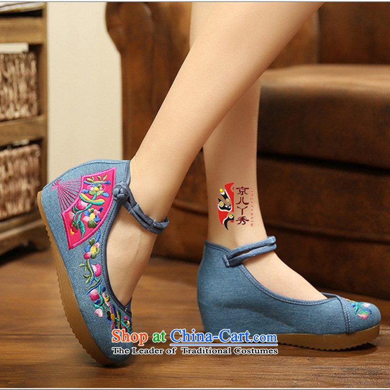 2015 new embroidered convolvulus spring and summer retro national wind increased within the embroidered shoes of Old Beijing mesh upper womens single waterproof desktop high-heel shoes A108-4 Blue聽39