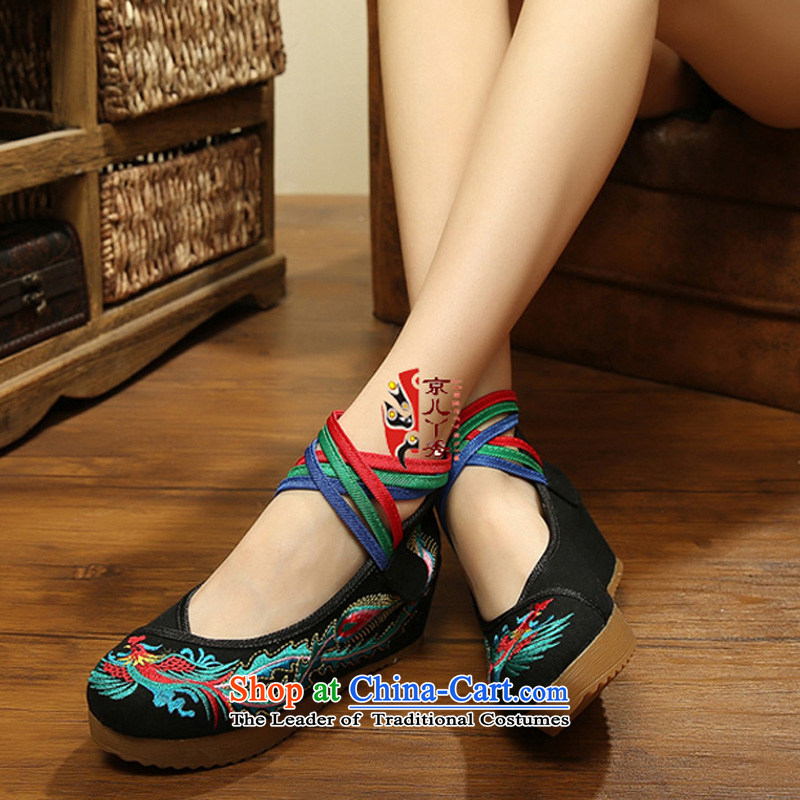 Phoenix to scanner new spring, summer, autumn, Retro embroidered shoes ethnic women shoes increased mesh upper old Beijing mesh upper stylish embroidered shoes A108-15 black40