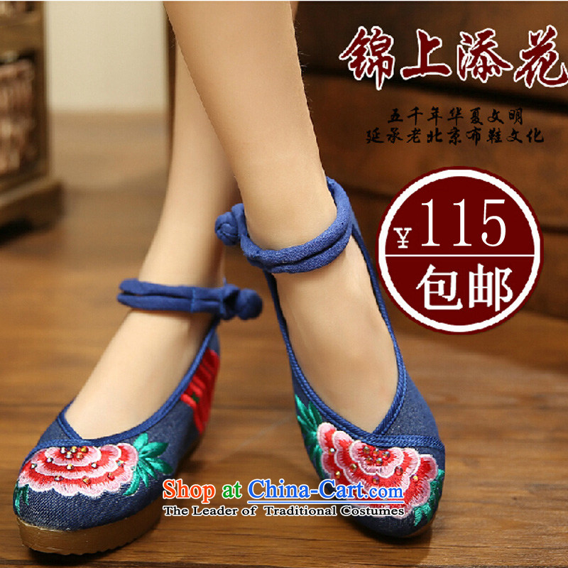 The icing on the new autumn 2015 retro ethnic embroidered shoes of Old Beijing mesh upper with increased within Taiwan high-heel women waterproof shoes A108-1 Red Blue36