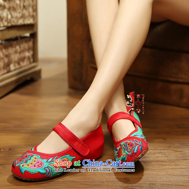 The autumn 2015 new products of Old Beijing Women's Shoe mesh upper mesh upper ethnic shoes increased leisure shoes with fish embroidery women shoes 412-127 Red 38