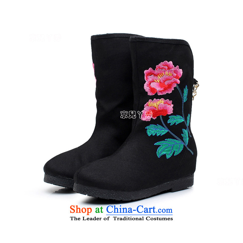 Yutaka Take July-september new products, Choo Old Beijing mesh upper female embroidered boots increased within a single ethnic single female boots boots leisure wild mid boot 810E Black 38