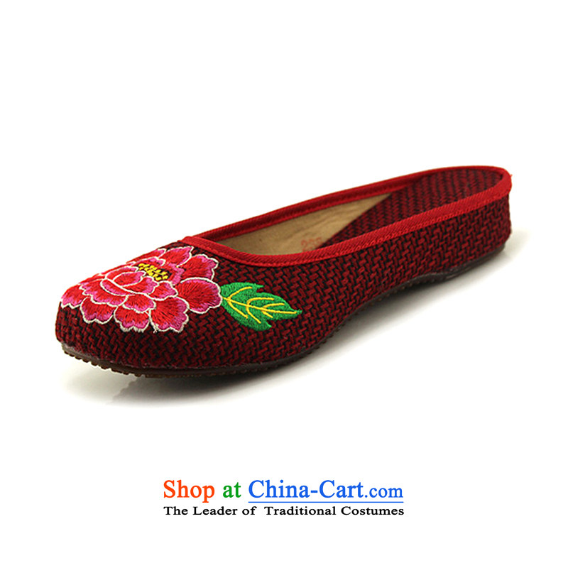 Mesh upper with old Beijing Summer female ethnic embroidery Baotou linen beef tendon base flat with female cool slipper peony flowers embroidered red聽37 Ma 15T-31 Drag