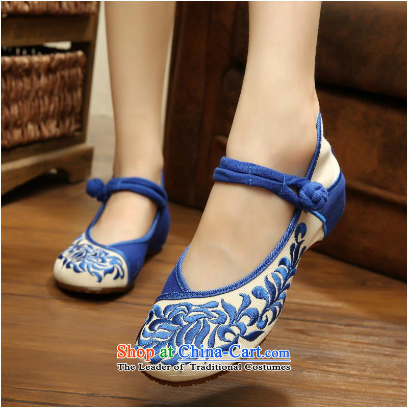 The autumn 2015 New Tsing playmate upgrade leaf old Beijing National wind embroidery walking shoes Dance Shoe mesh upper sneakers xhx blue and white38