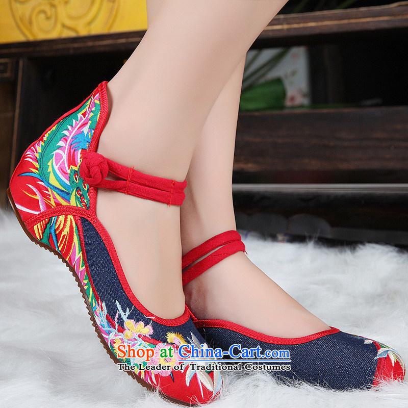 The autumn 2015 new light port non-slip shoes jacquard yarn-dyed fabric of ethnic spelling Oxford floppy-disk detained women shoes xhx cowboy Dark Blue 34