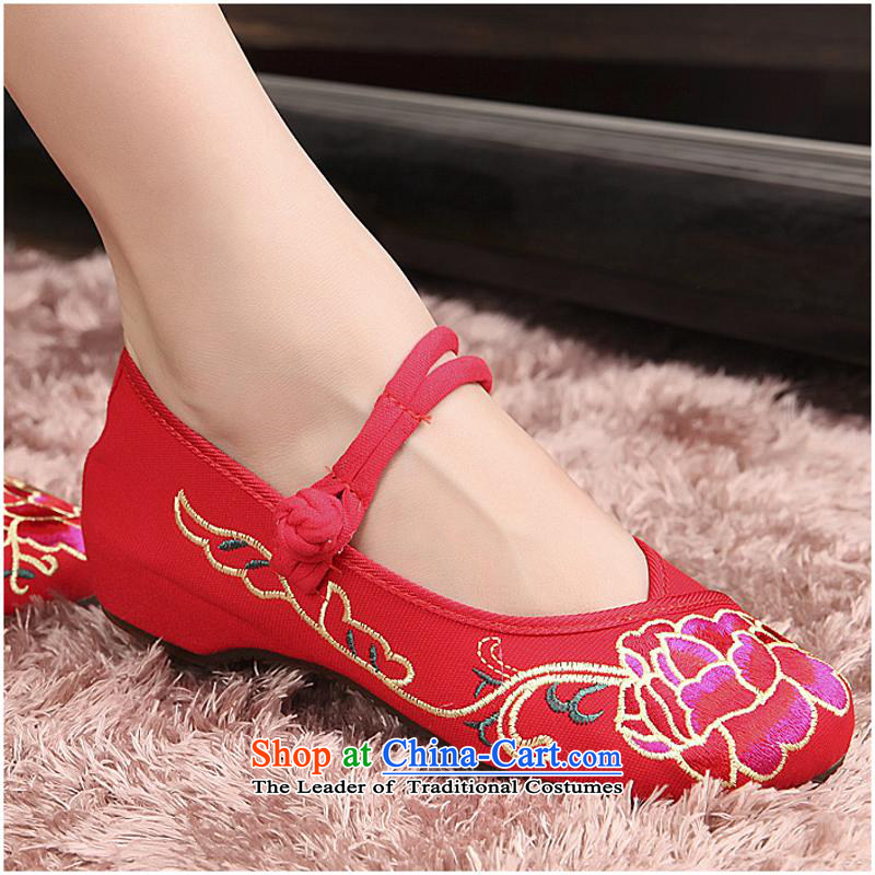 The autumn 2015 new horror che side genuine Beijing mesh upper Oxford soft bottoms super comfortable walking shoes women shoes xhx Red40