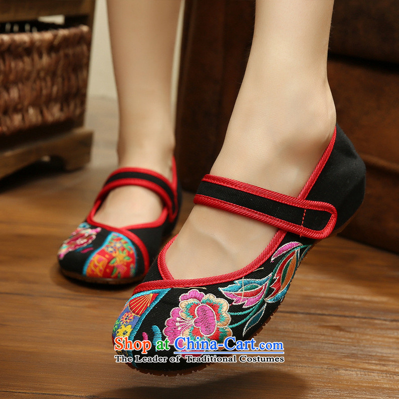 The autumn 2015 new azaleas beef tendon bottom of ethnic Beijing mesh upper embroidered shoes single women shoes Summer Dance Shoe xhx black聽37