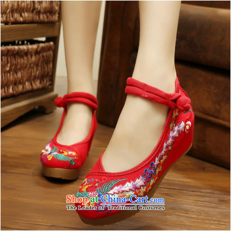 The autumn 2015 New Oxford bottom slope and color messages increase Bong-thick exclusive process genuine Beijing Women's Shoe xhx mesh upper Red40
