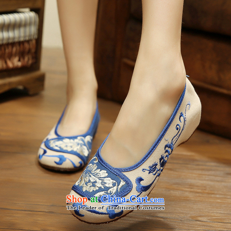 The autumn 2015 New Dance Shoe Lan Ting single shoe mesh upper ethnic embroidered shoes blue elegance is female non-slip xhx beige 38