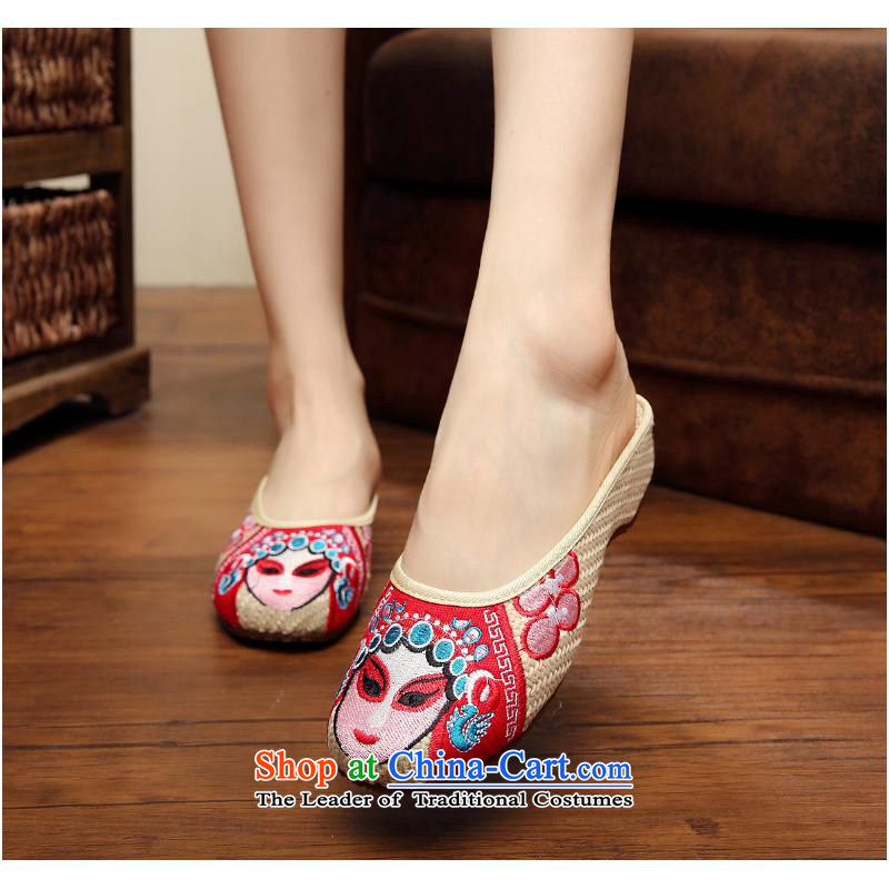 2015 Autumn and winter new pin kit for Beijing Dance Shoe beauty embroidered ethnic traditional flax slippers female xhx embroidery mesh upper m White聽40