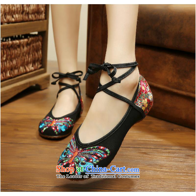 The summer and autumn of 2015 the new low light port Dance Shoe China wind embroidered shoes, Nabi beef tendon floor Beijing women's shoes mesh upper fourth quarter of black xhx 37