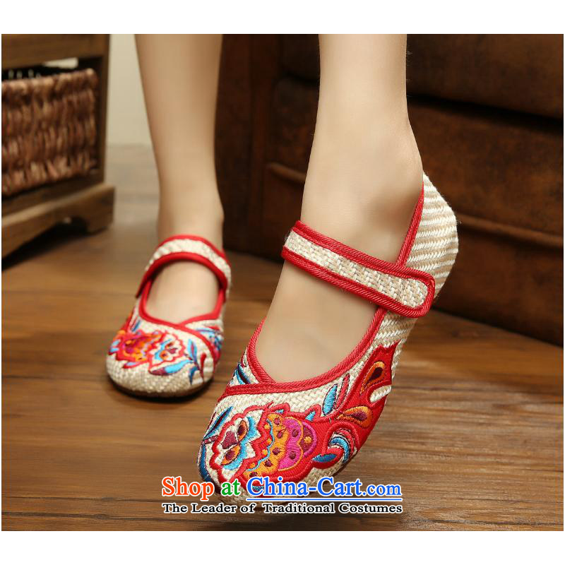 In spring and autumn 2015 New China wind embroidery manually fabrics pension womens single pin embroidery linen shoes Beijing Dance Shoe xhx mesh upper m White38