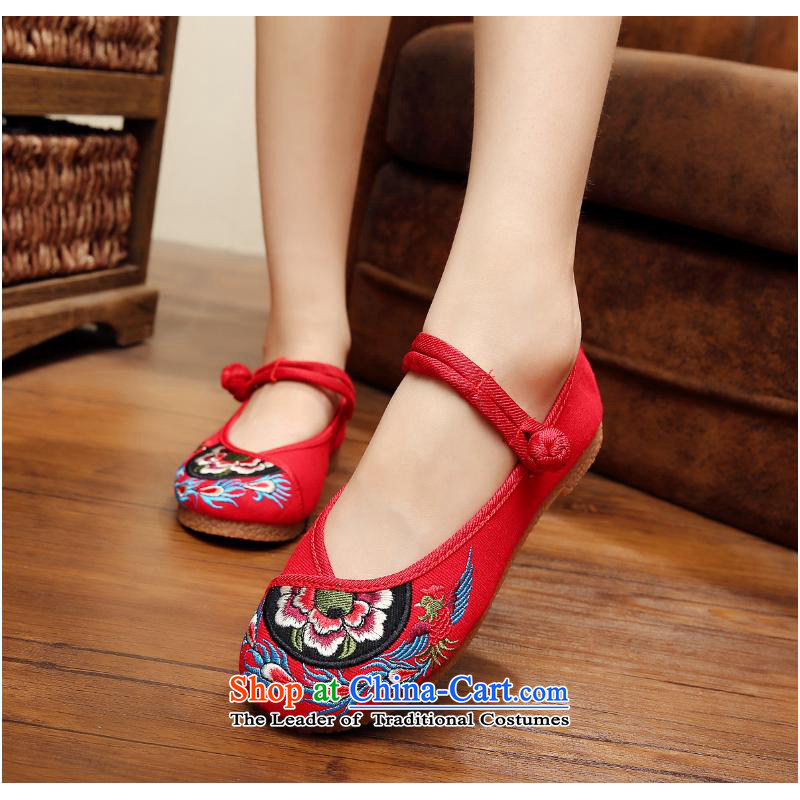 The autumn 2015 New Dance Shoe roller ball of single shoe pure beef tendon soft bottoms of Old Beijing embroidered shoes thick flat girl with red xhx38