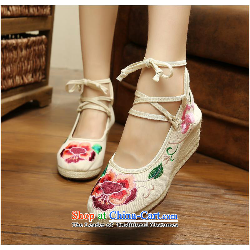 In spring and autumn 2015 new strap binding of the foot of the high-heel with leisure embroidery ethnic women shoes mesh upper Dance Shoe xhx beige 36