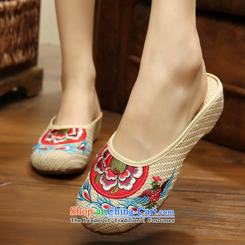 The autumn 2015 New Dance Shoe roller ball of ethnic old Beijing mesh upper exquisite embroidery embroidered flax slippers female Summer sandals cool xhx beige聽38