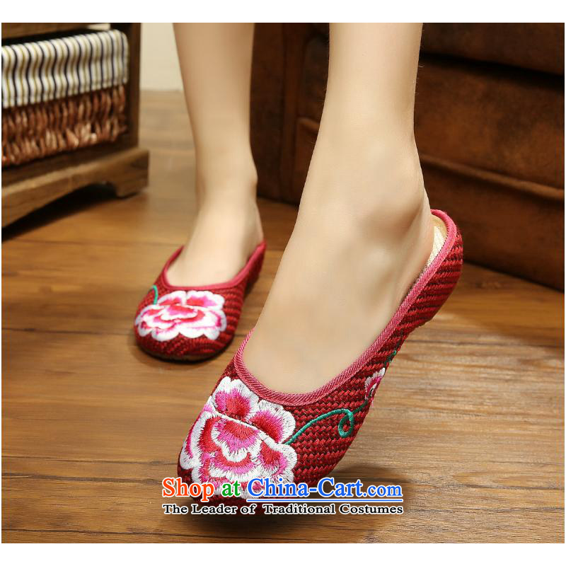 The autumn 2015 New Dance Shoe country color embroidery peony linen Beijing Summer bottom beef tendon mesh upper with new cold xhx slippers, wine red聽36
