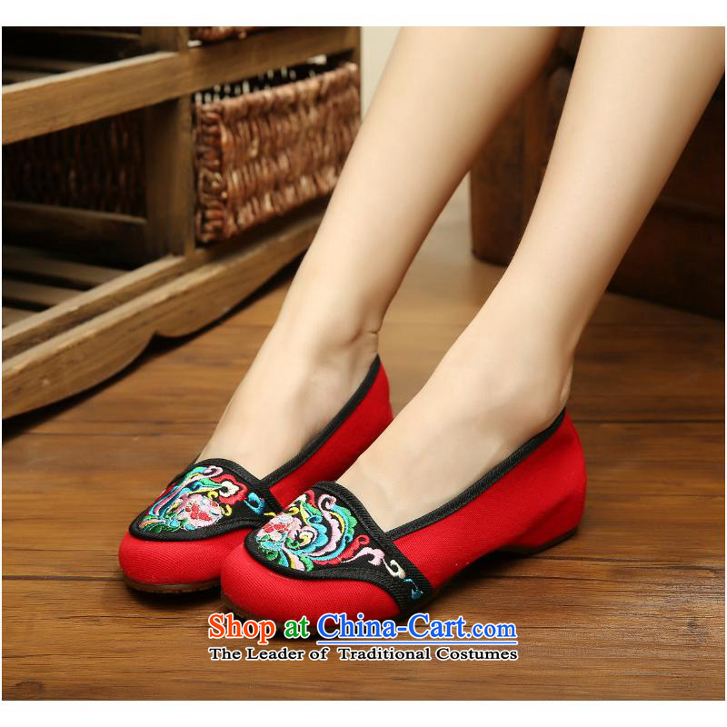 The autumn 2015 new leisure old Beijing National wind increased within mesh upper embroidered shoes with canvas womens single slope shoes xhx red 37, Charles (CHANVENUEL) , , , shopping on the Internet
