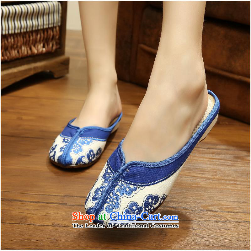 The autumn 2015 New shallow well the blue port mesh upper blue-embroidered shoes increased within the slope different from the old Beijing cloth slippers ethnic xhx red 37, Charles (CHANVENUEL) , , , shopping on the Internet