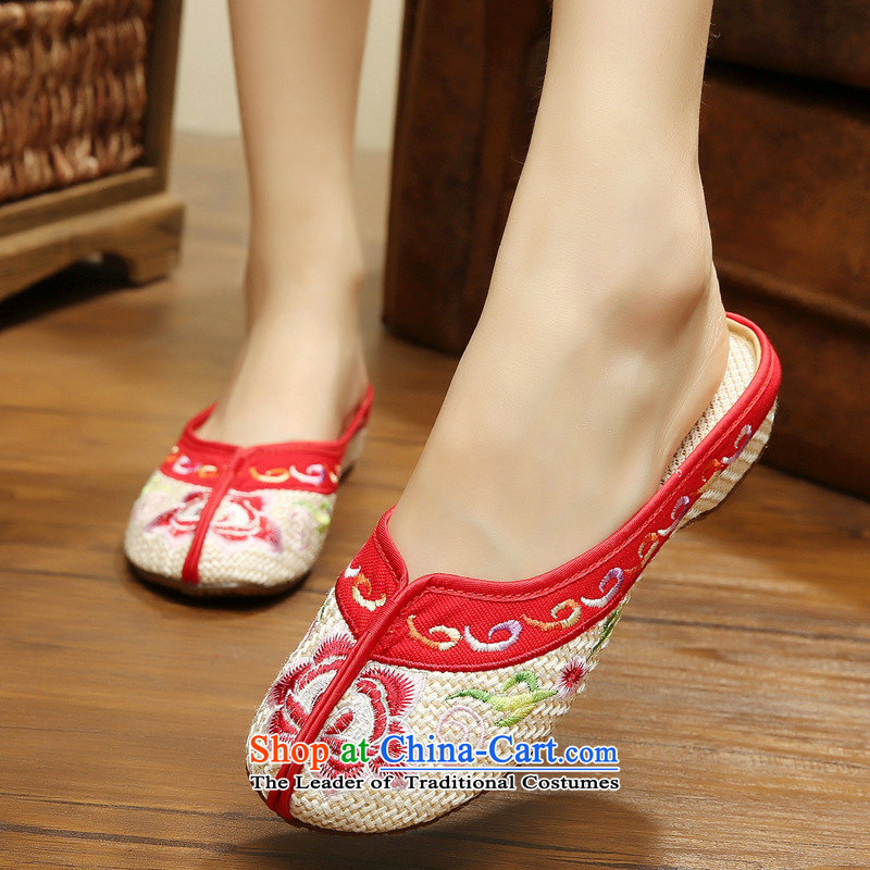 The autumn 2015 new ethnic dance shoe embroidered shoes, wine red flower embroidery linen drag cold beef tendon floor Beijing mesh upper xhx beige36