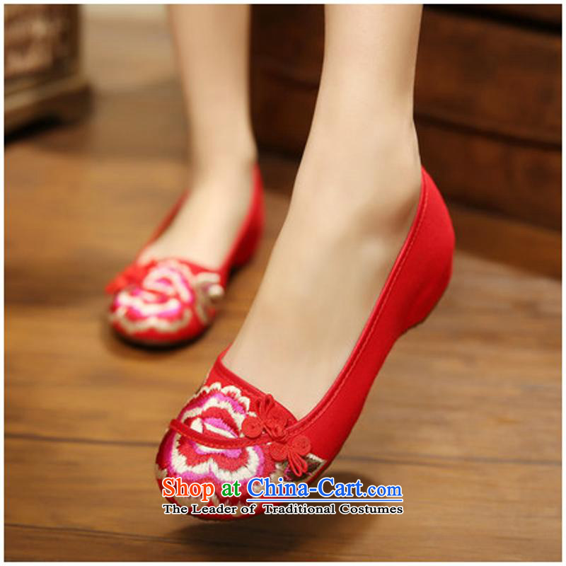 The new facilities fall 2015 tray clip peony embroidery no linen sockliner plus sponge mesh upper womens single xhx Beijing Red40