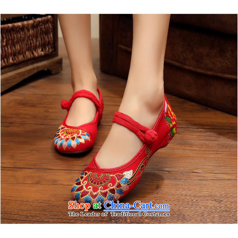 The autumn 2015 New Dance Shoe totems of China wind embroidery embroidery mesh upper Single National Women Oxford xhx black 36