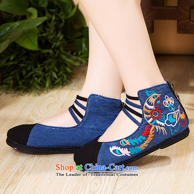 Bong-wearing the new order autumn Mudan shoes embroidered shoes zipper women shoes cowboy color 35