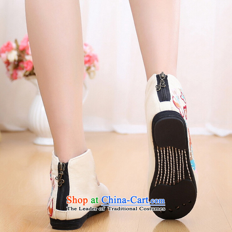 Bong-wearing the new order autumn Mudan shoes embroidered shoes zipper women shoes cowboy color 35 qin world shopping on the Internet has been pressed.