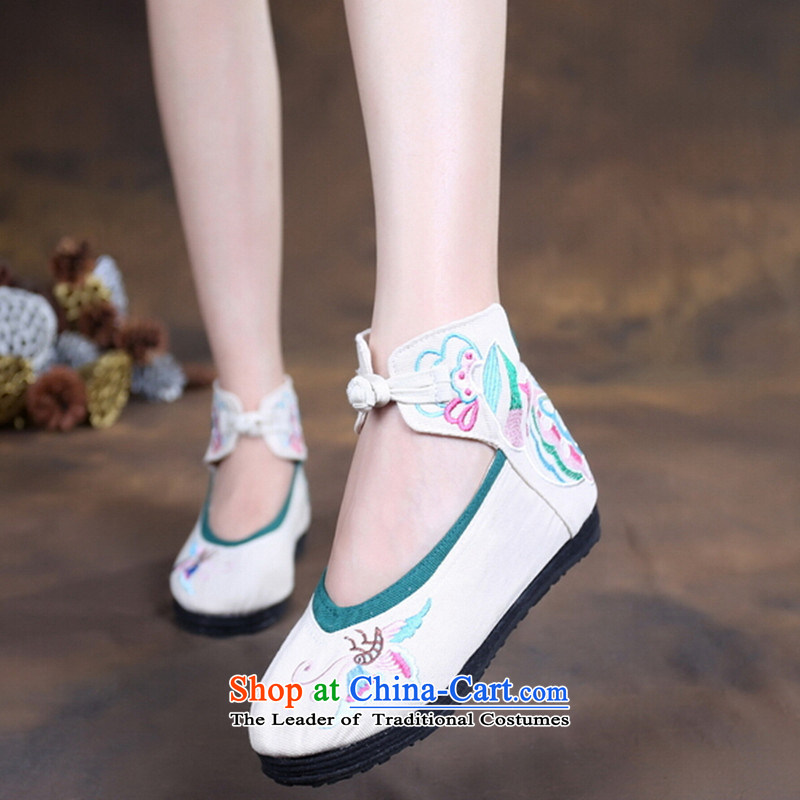 2015 Autumn, girls-canvas shoes female ethnic stylish thick rising within the old Beijing m White36