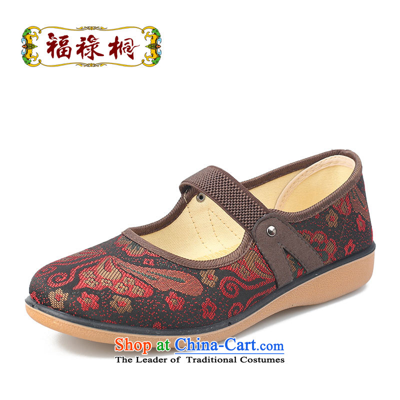 Fu Lu visited the summer and fall of 2015 New Old Beijing mesh upper women shoes flat bottom anti-slip soft ground mother footwear in the older comfortable casual shoes single shoe 25352002 Red38