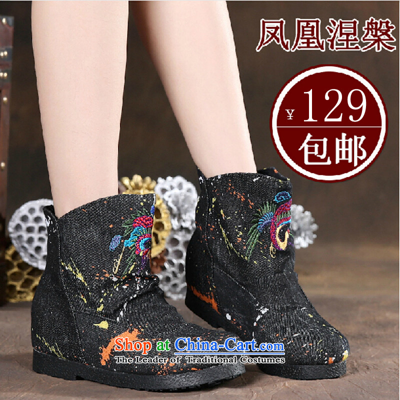 Phoenix Aleksander Kwasniewski 槃 autumn) on a new women's shoe old Beijing mesh upper female embroidered ethnic retro embroidery cowboy wash cloth rubber soft bottoms in low female boots 817E black37