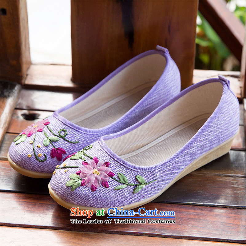 Chung Autumn Pavilion new old Beijing mesh upper with slope women shoes embroidered shoes leisure shoes mother shoe tsutsu shoes flat bottom womens single shoe E-531 purple 35