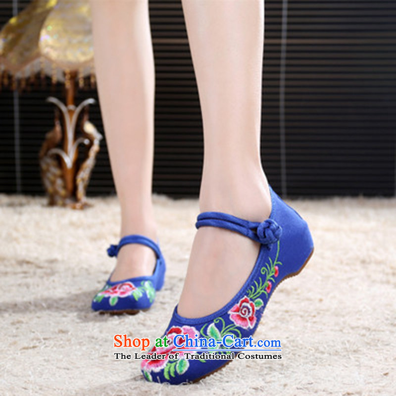Oriental Kai Fei 2015 autumn and winter new wealth Mudan Old Beijing women's shoes and stylish mesh upper retro ethnic bride embroidered shoes shoes Dance Shoe Mudan marriage Blue 37