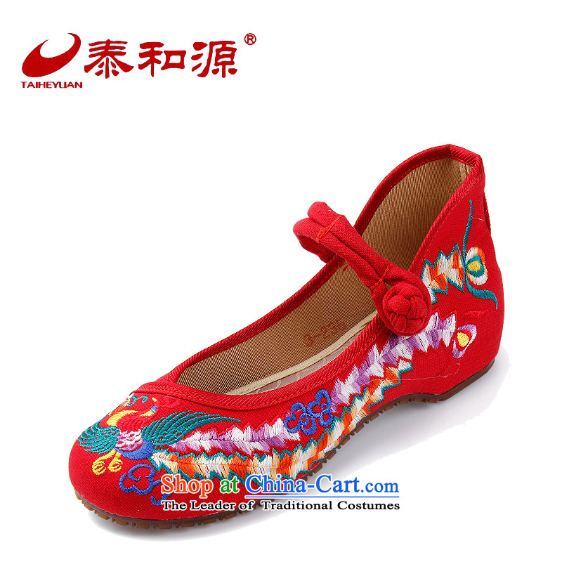 The Thai and source of Old Beijing mesh upper for women of ethnic handicraft embroidery flower shoes spring and fall new retro China wind flat shoe womens single shoe Red 36